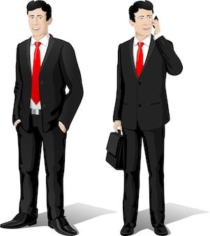 Vêtements de type homme d'affaires de figure de vecteur de personnage masculin avec une cravate rouge et un costume noir