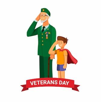 Vétéran de l'armée avec petit-enfant saluant