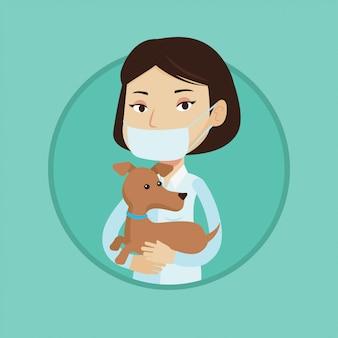 Vétérinaire avec chien dans les mains vector illustration