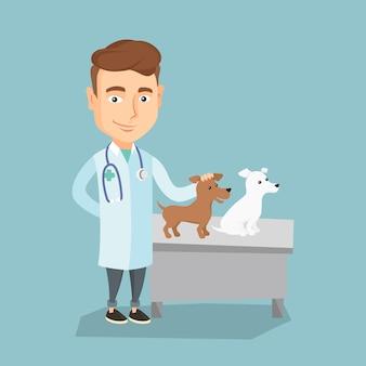 Vétérinaire examinant les chiens vector illustration.