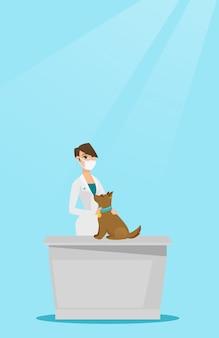Vétérinaire examine illustration vectorielle de chien.