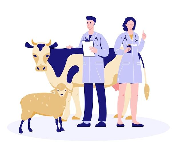 Vétérinaires homme et femme avec une vache et des moutons.