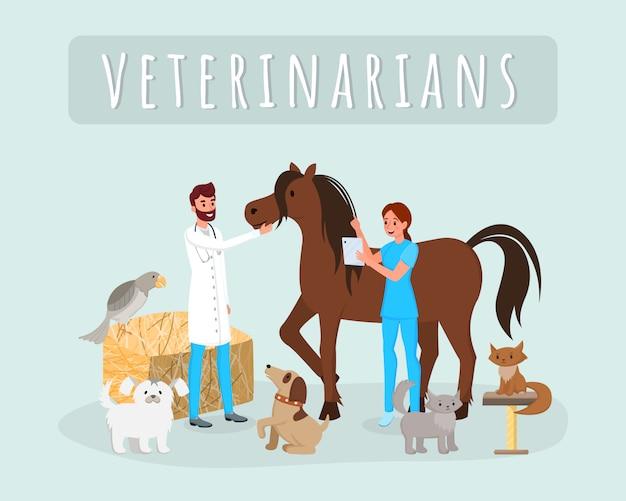 Les vétérinaires travaillent avec des animaux