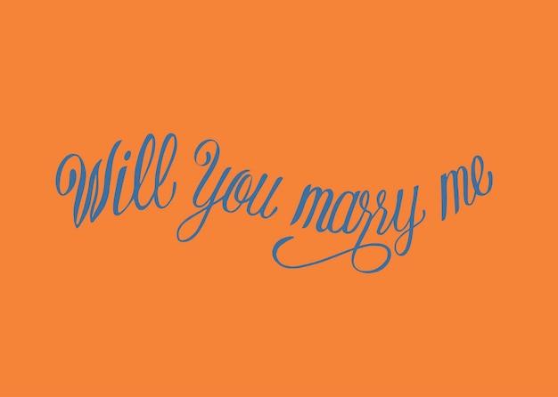 Veux-tu m'épouser design de typographie
