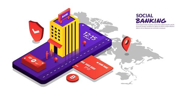Vglobal concept de banque sociale sécurité des paiements en ligne par smartphone