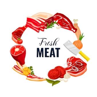 Viande de boeuf, porc, poulet et agneau, bacon et jambon