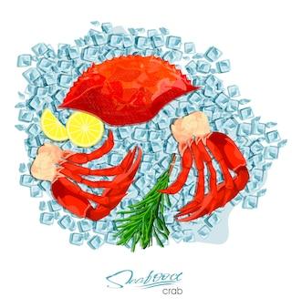 Viande de crabe au romarin et citron sur glaçons