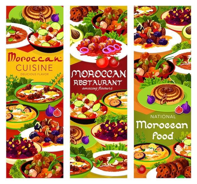 Viande de cuisine marocaine aux pruneaux et aux amandes, salade de betteraves à la grenade et soupe au poulet. salade de couscous aux légumes, soupe d'aubergine froide des balkans, boulette de poisson sauce tomate, cuisine du maroc