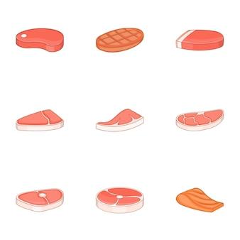 Viande fraîche, jeu d'icônes de poisson, style cartoon