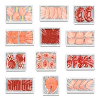 Viande fraîche et poisson dans des plateaux de service en plastique ou en polystyrène isolé