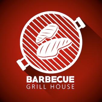 Viande sur la silhouette du barbecue