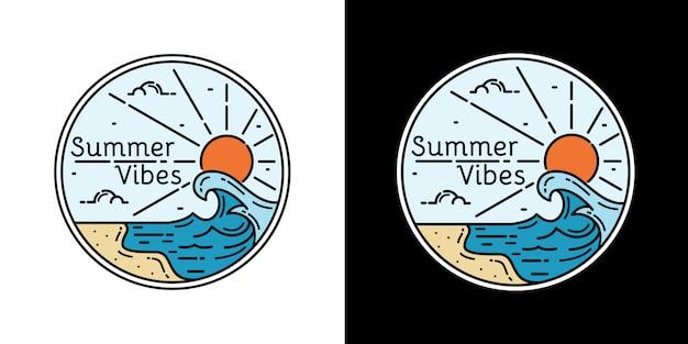 Vibes d'été avec design monoline couleur