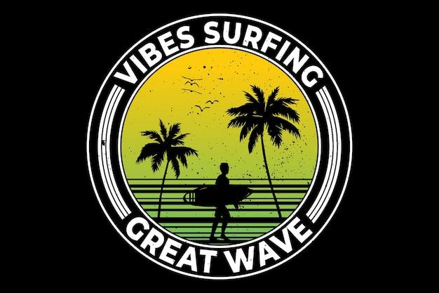 Vibes surf vagues été style rétro