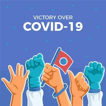Victoire contre le cononavirus et le drapeau de la terre