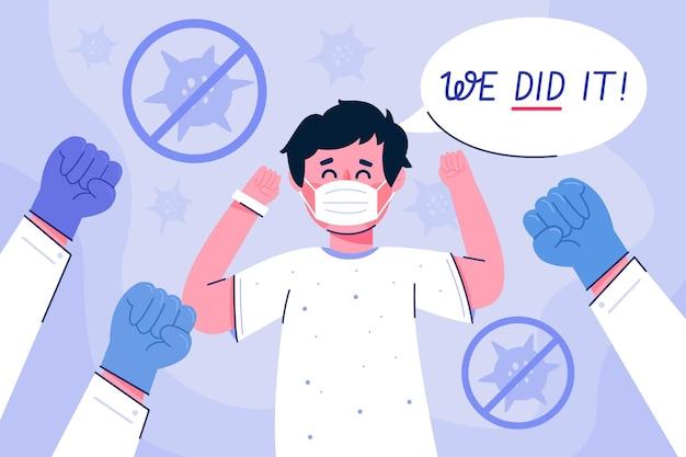 Victoire contre un coronavirus avec un patient