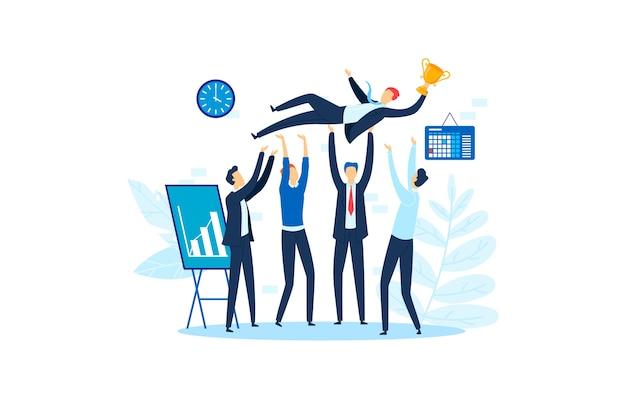 Victoire d'entreprise de succès, illustration de fête de célébration d'entreprise. réalisation de groupe professionnel, victoire de travail d'équipe d'homme heureux. le caractère des gens qui réussissent lance le leader au bureau.