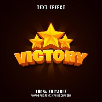 Victoire d'or avec effet de texte de jeu triple étoile