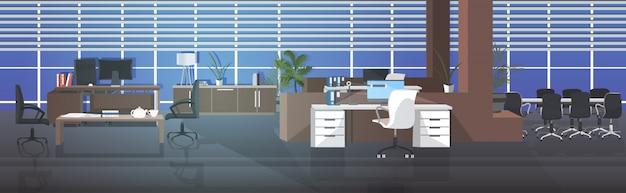 Vide aucun centre de coworking avec salle de réunion moderne open space bureau intérieur horizontal