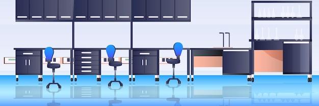 Vide aucun laboratoire de recherche chimique avec différents équipements scientifique en milieu de travail concept d'éducation scientifique laboratoire moderne intérieur horizontal