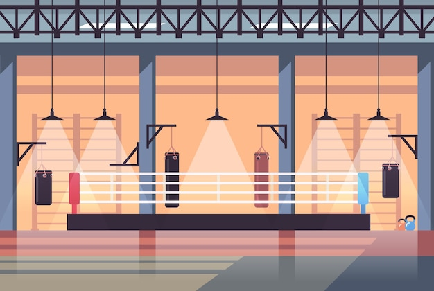 Vide aucun peuple ring de boxe intérieur du club de combat moderne