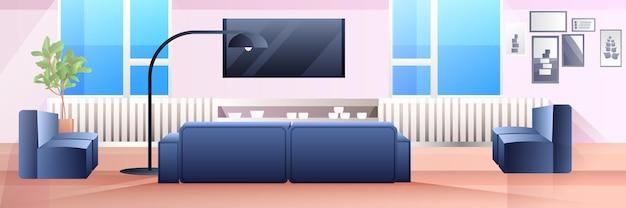 Vide aucun peuple salon intérieur design d'appartement moderne, illustration horizontale