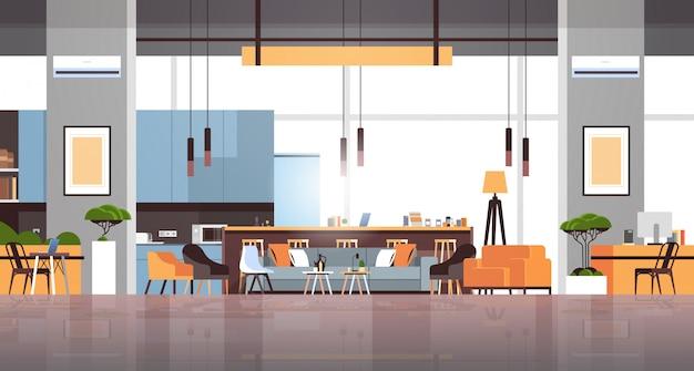 Vide espace de travail moderne bureau chambre intérieur créatif espace de travail bannière horizontale plat