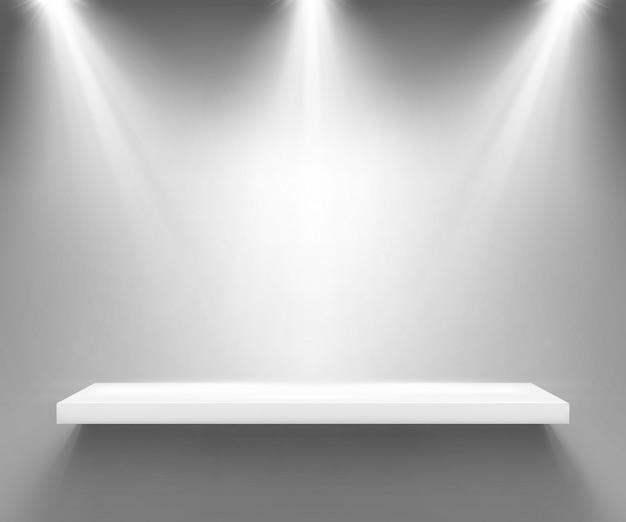 Vide étagère blanche éclairée