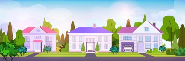 Vide pas de gens rue maisons de ville cottages pays concept immobilier architecture résidentielle maisons illustration vectorielle horizontale extérieure