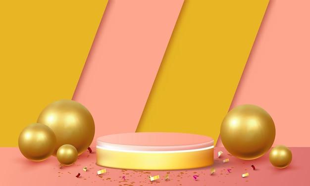 Vide podium studio fond rose et or pour l'affichage du produit