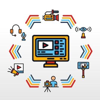 Video blogger infographic avec icône sur le thème rétro