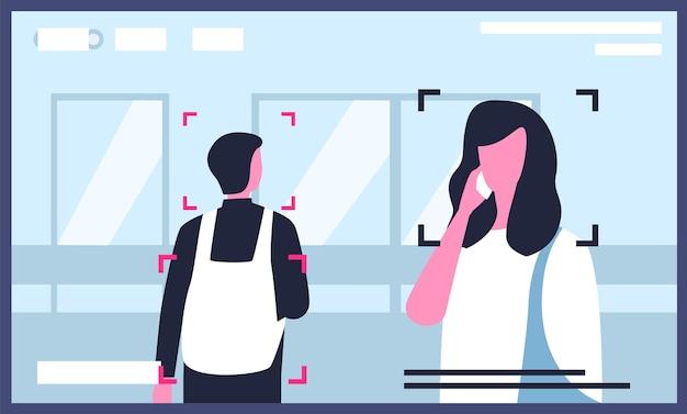 Vidéo de caméras de surveillance ou de vidéosurveillance installées dans la rue de la ville avec un homme et une femme parlant sur un smartphone
