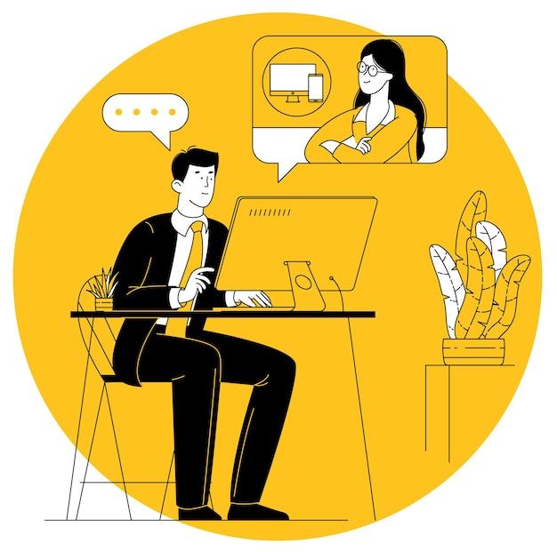 Vidéo conférence. jeune manager ayant une réunion par appel vidéo. travailler à partir du concept de vecteur à domicile.