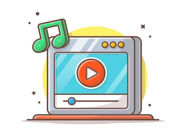 Vidéo musicale en streaming avec bouton de lecture et note de musique. onilne streaming blanc isolé