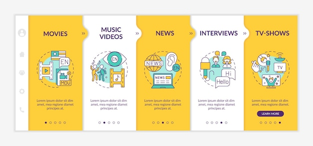 Vidéo pour le modèle d'intégration de l'apprentissage des langues étrangères. films, journaux, émissions de télévision divertissantes. site web mobile réactif avec des icônes. écrans d'étape de visite virtuelle de la page web. concept de couleur rvb