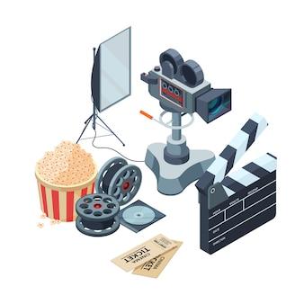 Vidéo de production. production vidéo et photographique isométrique