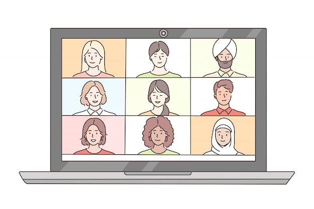 Vidéo, réunion, conférence, en ligne, entreprise, concept de communication