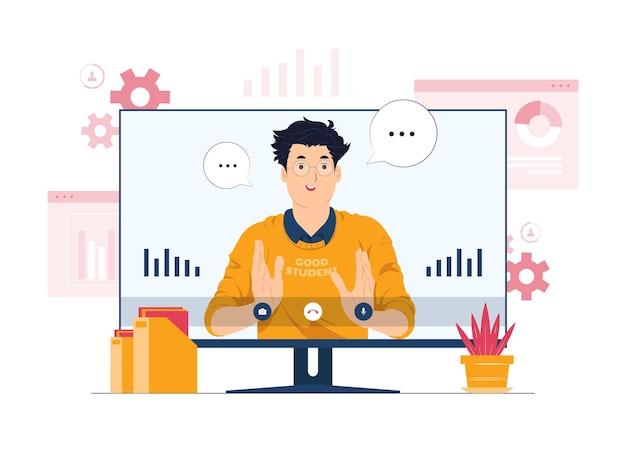 Vidéoconférence, apprentissage en ligne et illustration du concept de travail à distance