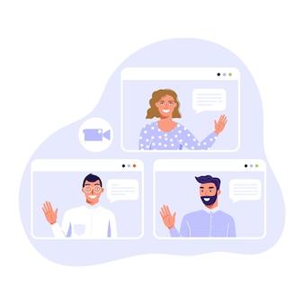 Vidéoconférence ou concept de réunion en ligne. équipe de personnes en conversation.