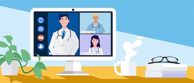 Vidéoconférence à domicile, conférence en ligne avec des médecins via un ordinateur.
