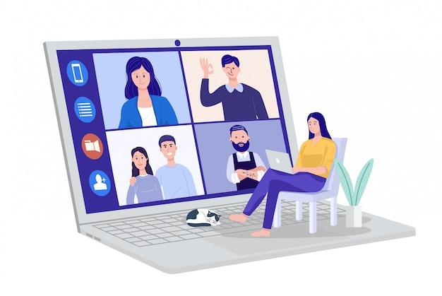 Vidéoconférence à domicile, femme ayant une réunion par vidéoconférence avec des clients à domicile. vecteur