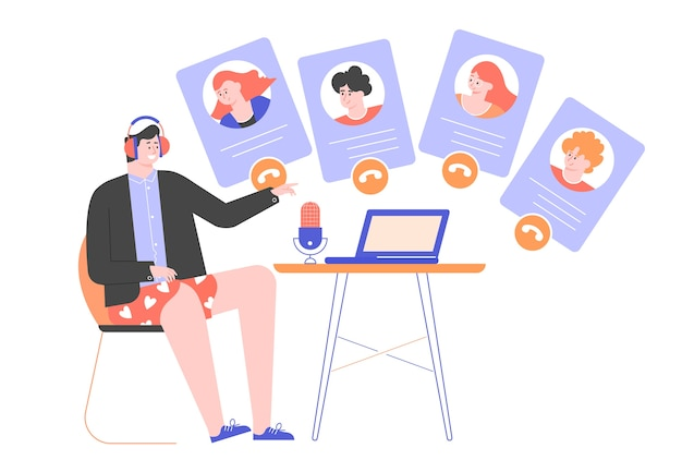 Vidéoconférence en ligne, réunion, travail à distance depuis la maison.