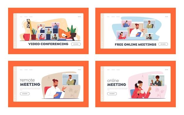Vidéoconférence, page de destination de la téléconférence du groupe webcam