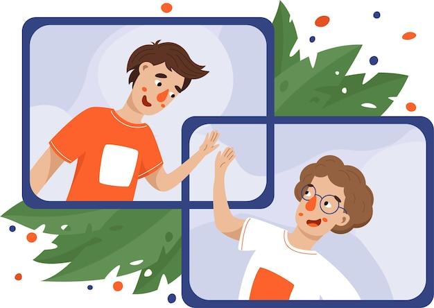 Vidéoconférence, soirée en ligne, réunion virtuelle.