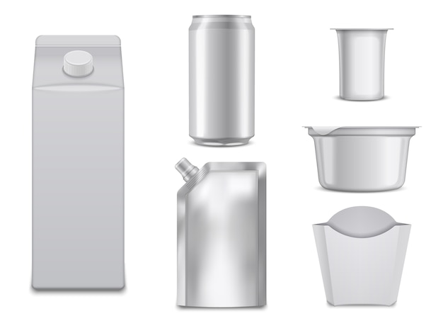 Vider les colis alimentaires. boîtes blanches et conteneurs.