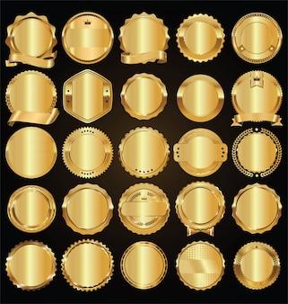 Vider les étiquettes rétro dorés et les badges collection de vecteur doré