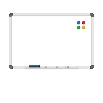 Videz le tableau blanc effaçable à sec avec des aimants, des marqueurs et une gomme. écriture de tableau blanc, dessin, modèle d'animation. plat