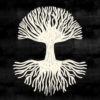 Vie de l'arbre blanc sur fond noir
