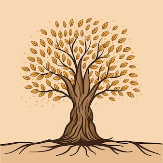 Vie d'arbre dessiné à la main avec des feuilles et des racines