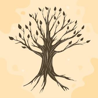 Vie de l'arbre dessiné à la main marron