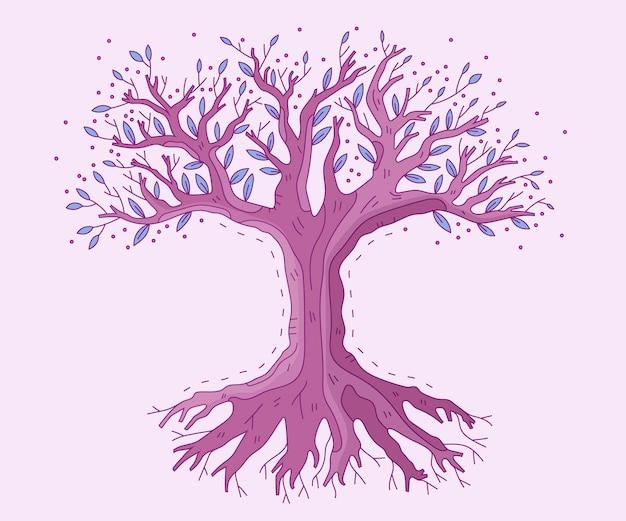 Vie d'arbre dessinée à la main de conte de fées